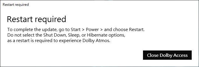 第一次啟動 Dolby Access 需要重開機