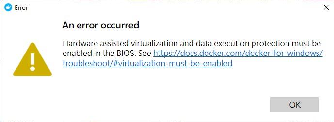 Docker 虛擬化錯誤